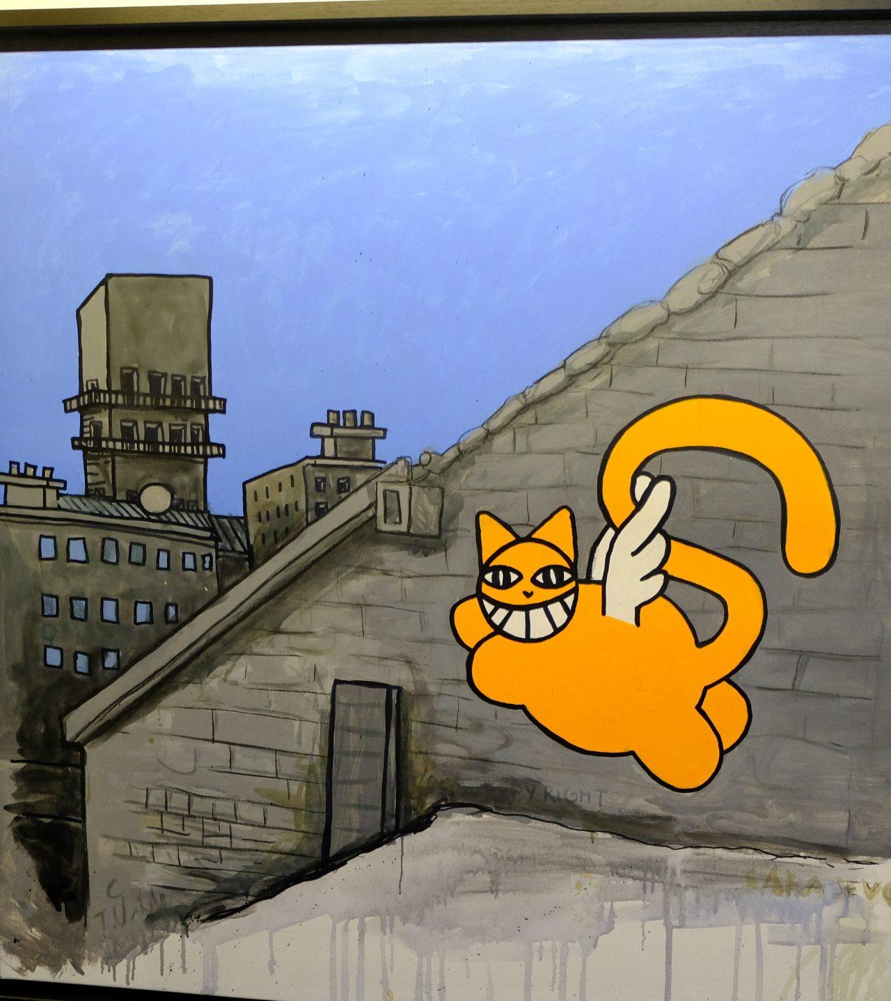 M Chat longtemps monte en l air se pose dans le monde de l'art contemporrain