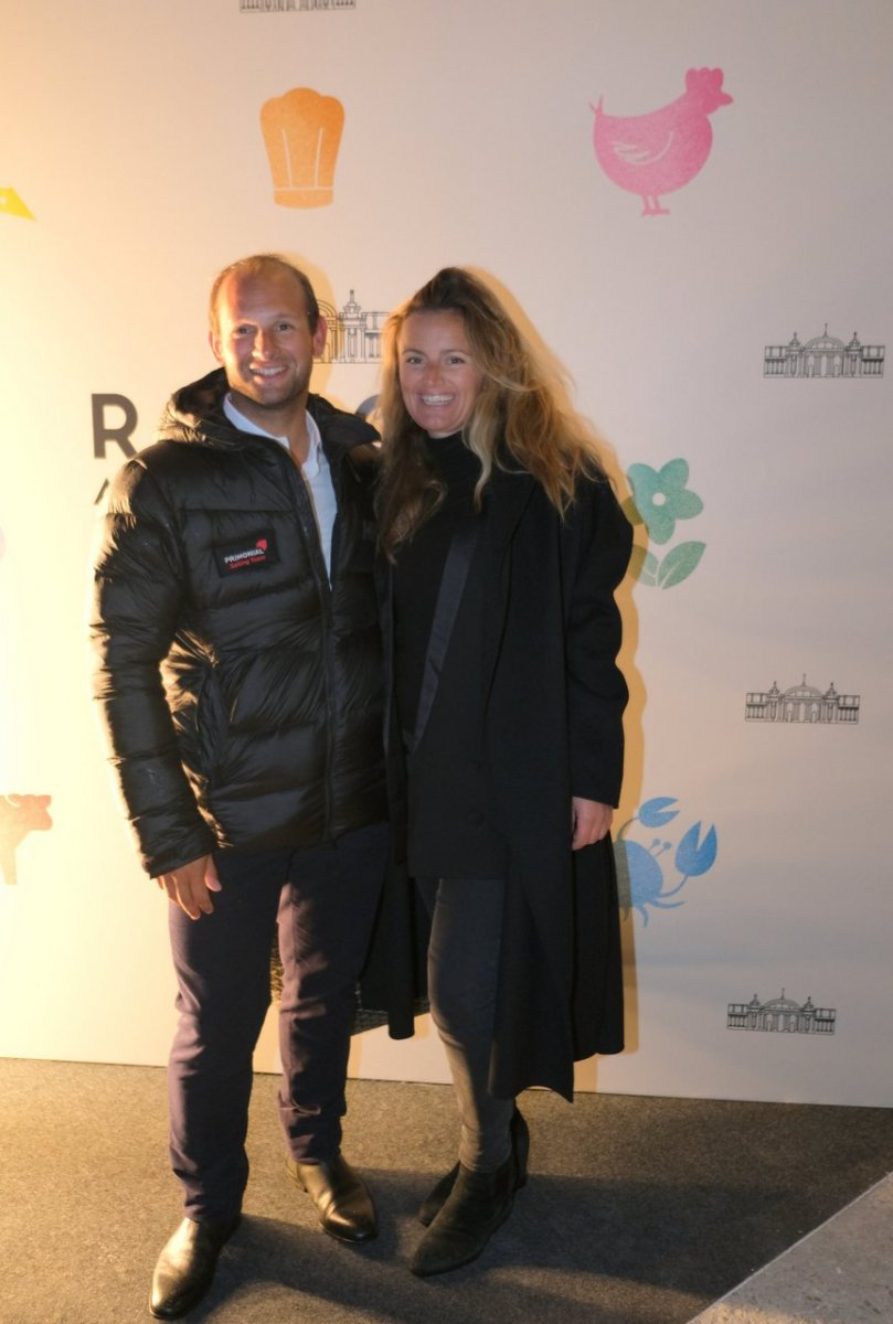 Sébastien Rogues  vainqueur de la Transat Jacques Vabre et sa femme