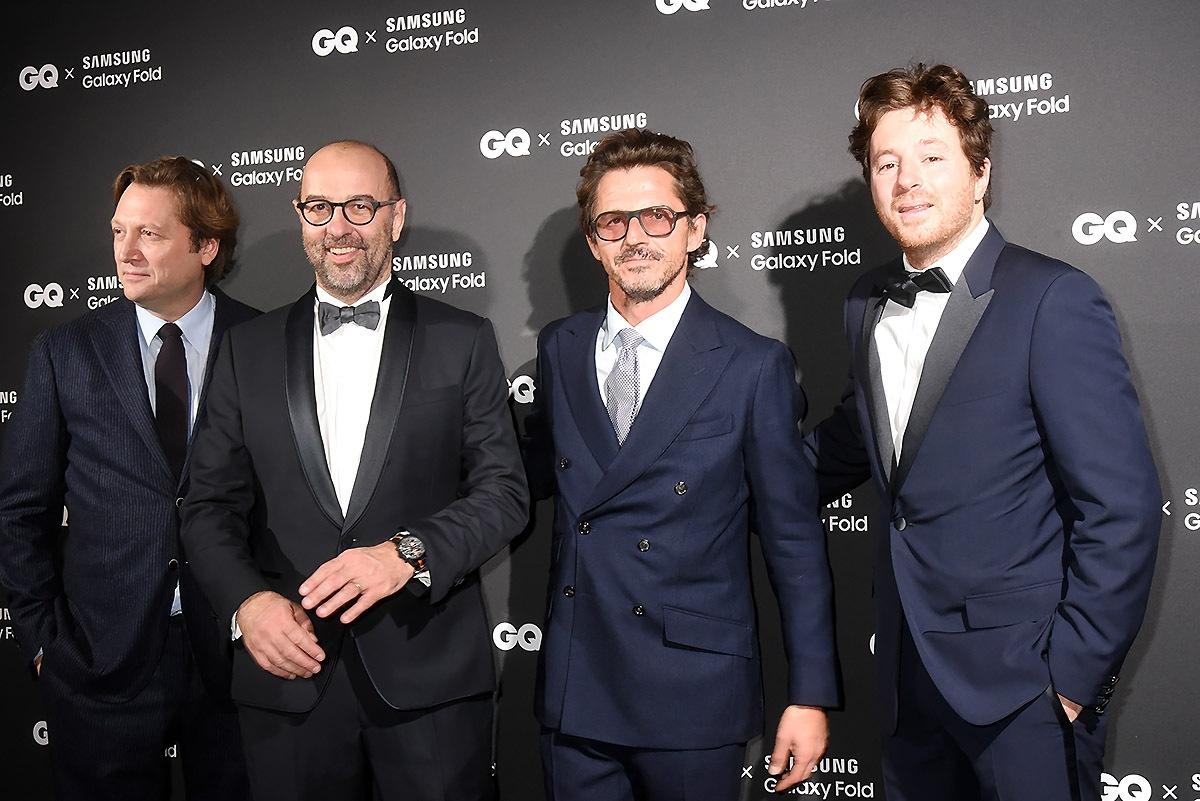 Men in Black : Alexandre Sap, L'éditeur de GQ Rodolphe Pelosse, un invité et and GQ Chef of The Year Jean Imbert