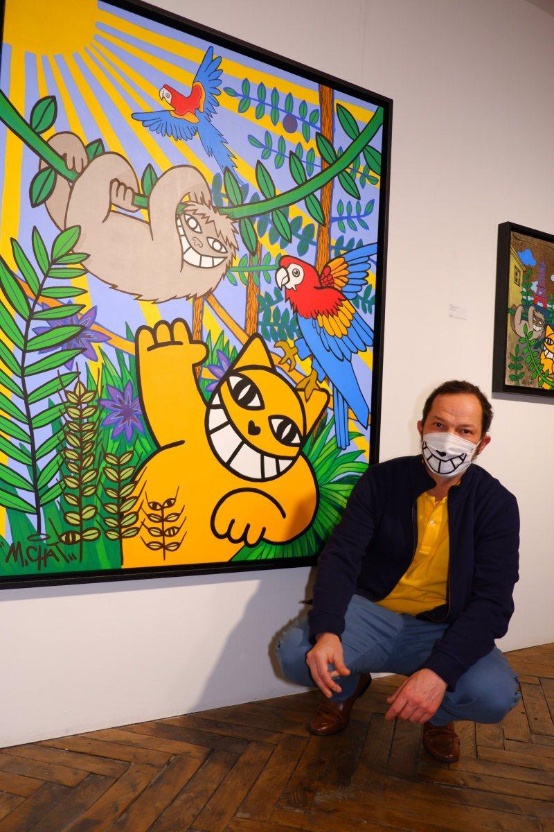 """M Chat devait réaliser un mur a Lima, mais a cause du confinement il n a pas pu aller au Pérou. Le titre de l 'expo en découle : """"Ce n'est pas le Pérou"""""""