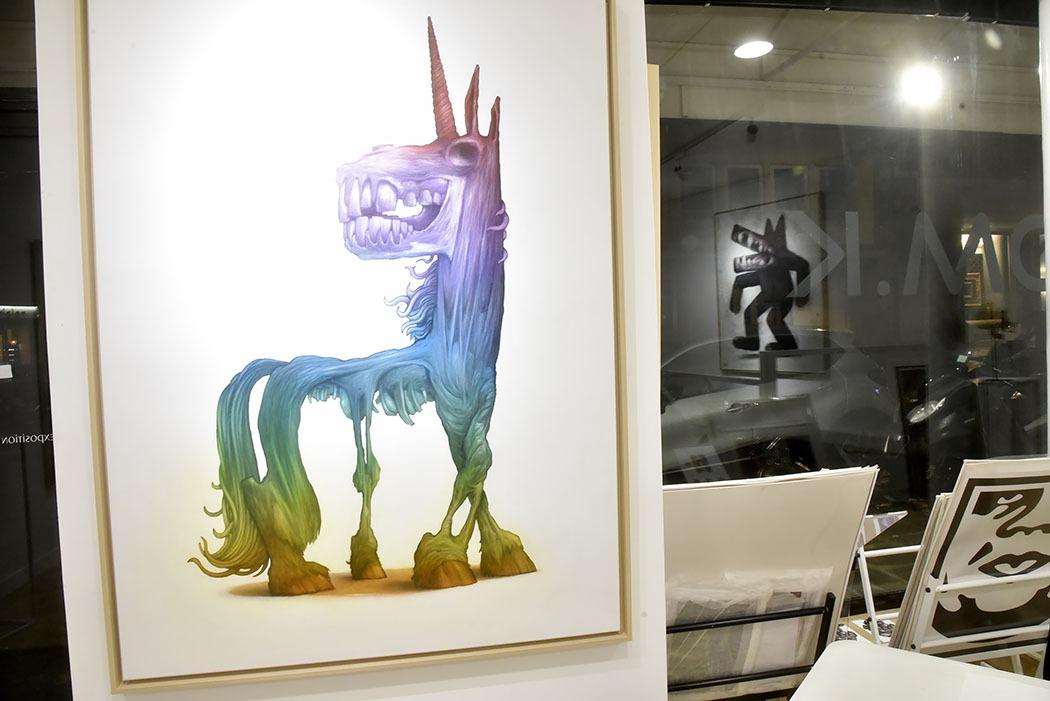 Ambiance bestiare pendant Ma Thématiques Expo Bom.K à la Galerie Joël Knafo