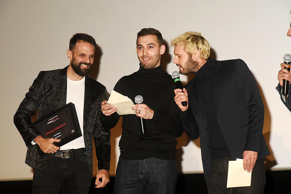 Mobile film 2019 Special Mention David Murad et les jurés Dali Benssalah et Hugo Becker